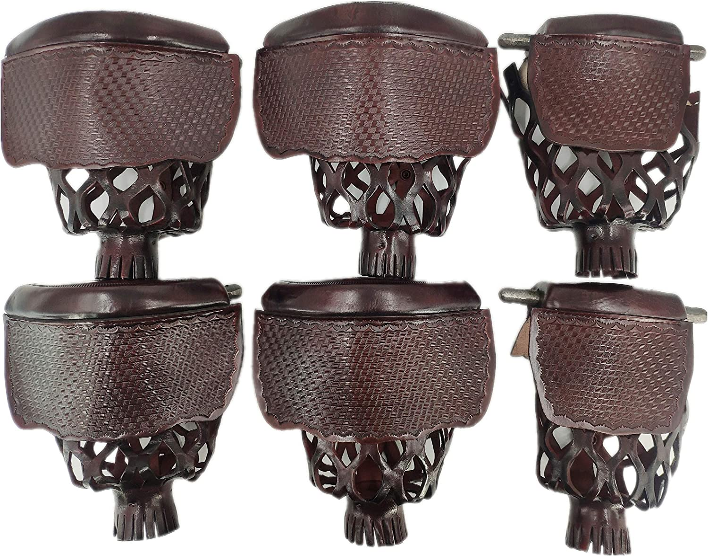 Mahogany Color Joys Billiard Set of 6 Real Leather Pool Table Billiard Pockets Mosaic Pattern Shield