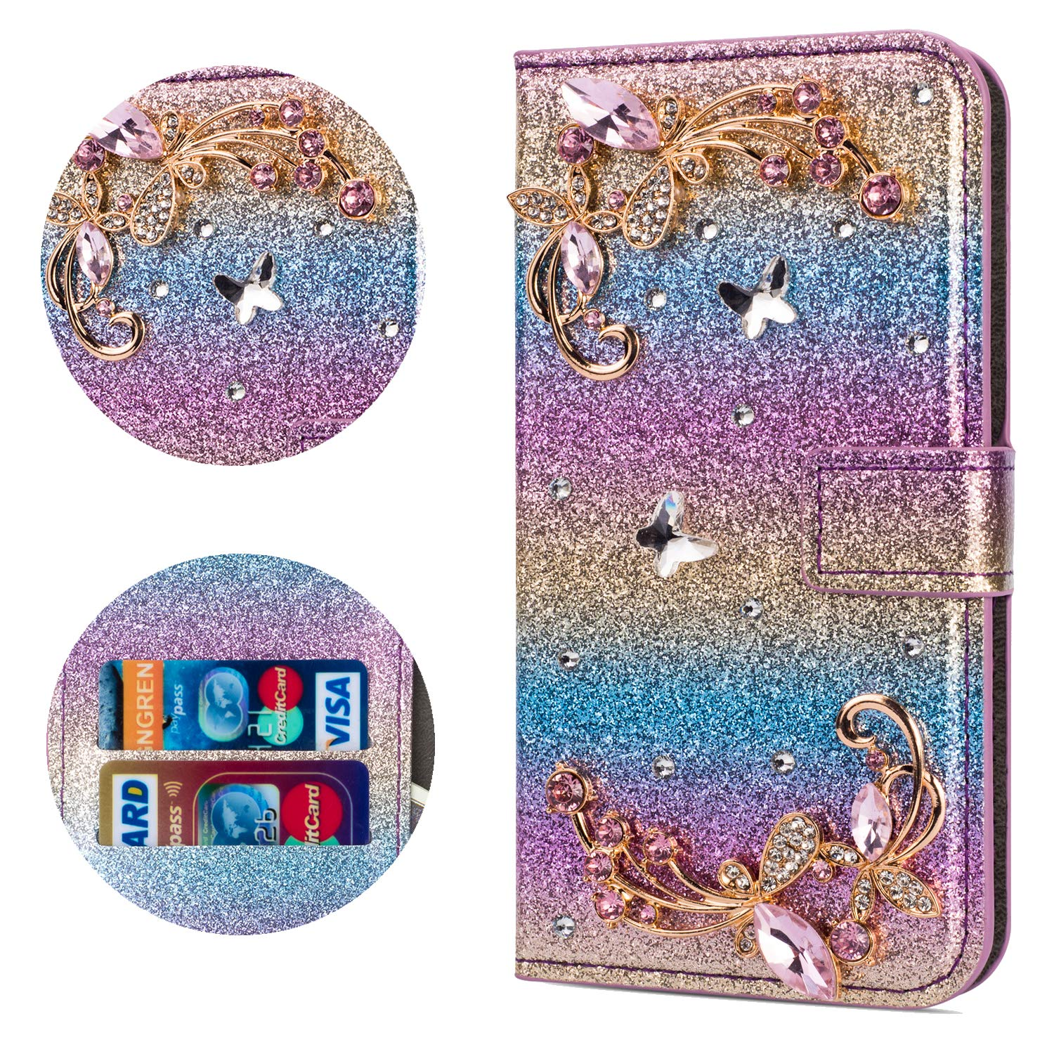 Stysen Flip Case for Galaxy S7 Edge,Leather Cover with 3D Handmade Crystal Diamonds Butterfly Glitter Floral Wallet Magnetic Clasp for Samsung Galaxy S7 Edge by Stysen