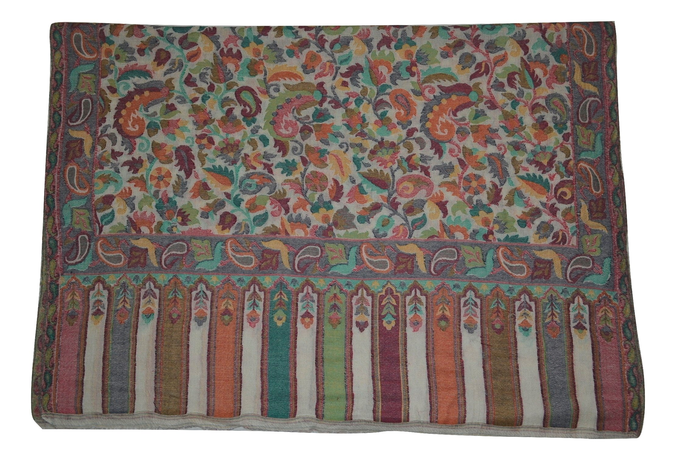 100% Pure AUTHENTIC Handmade Pashmina Wool Scarf,Multicolor Floral KANI work. X1758