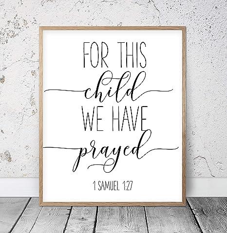 For this boy we have prayed 1 Samuel 1:27 custom nursery bible verse wall art