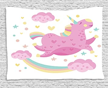 Ambesonne Girly Decor Collection Chubby Legendaire Smiley Licorne