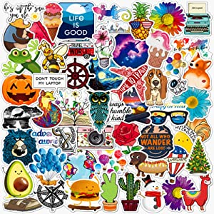 ANERZA 100 pcs Laptop Stickers, Cute Aesthetic Vinyl Stickers for Skateboard Hydro Flask Hydroflask Water Bottle Computer, Waterproof Decal Vsco Stickers for Kids Women Adults, Teen Girl Gifts