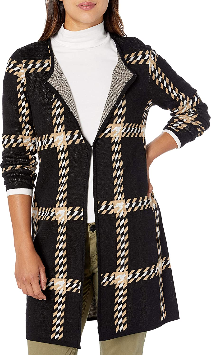 Max 90% OFF Kasper Women's Large Houndstooth Collar Notch Sweater Jacquard Max 83% OFF