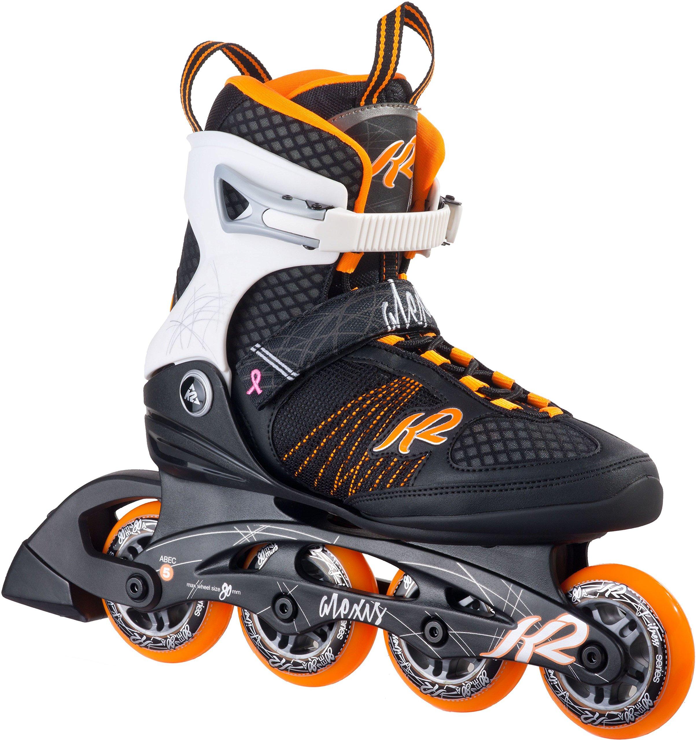 K2 Skate Women's Alexis 80 Inline Skates, Black/Tangerine, 10.5