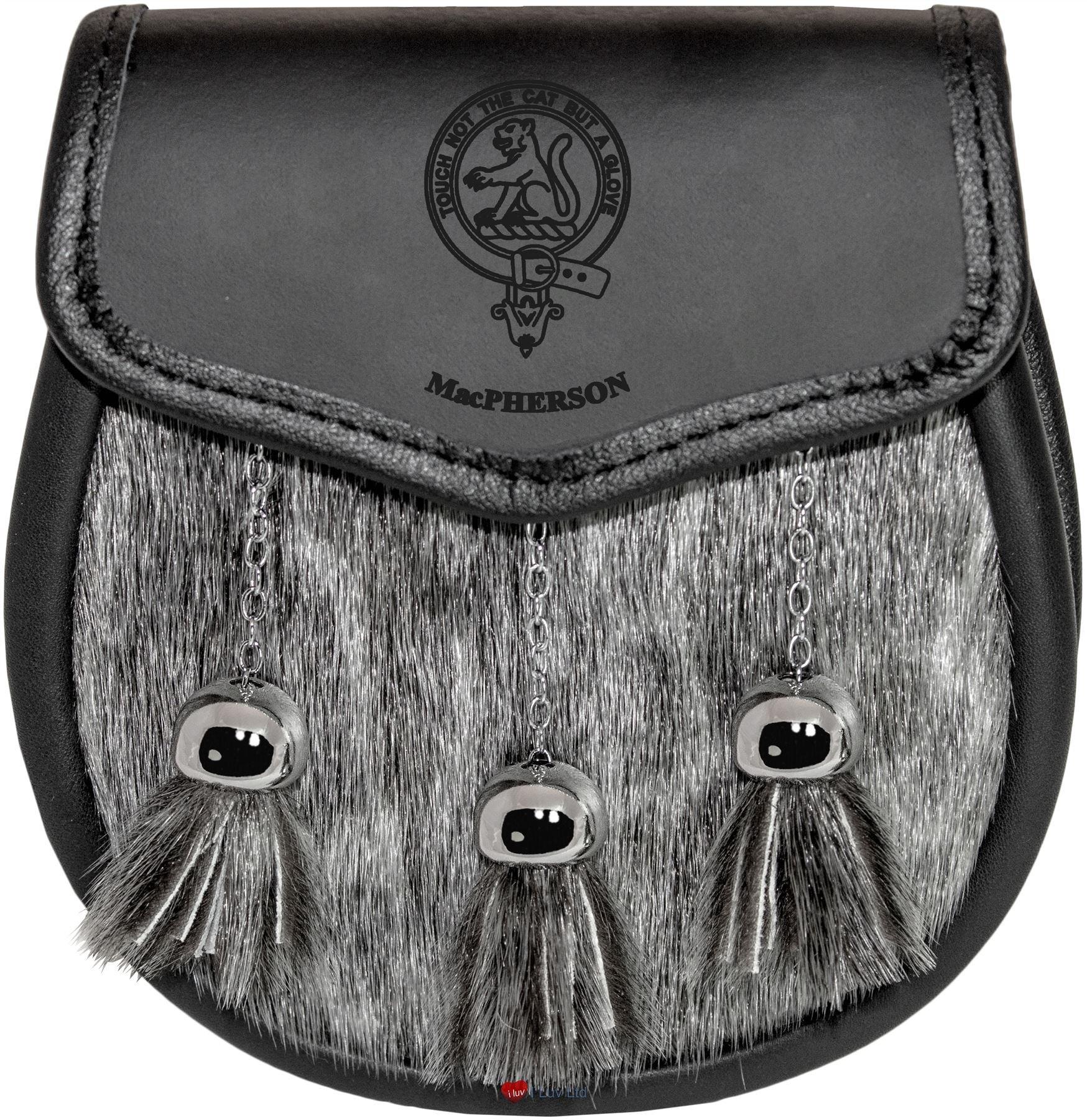 MacPherson Semi Sporran Fur Plain Leather Flap Scottish Clan Crest