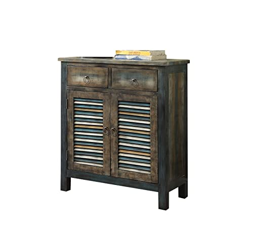 ACME Glancio Antique Oak and Teal Console Table
