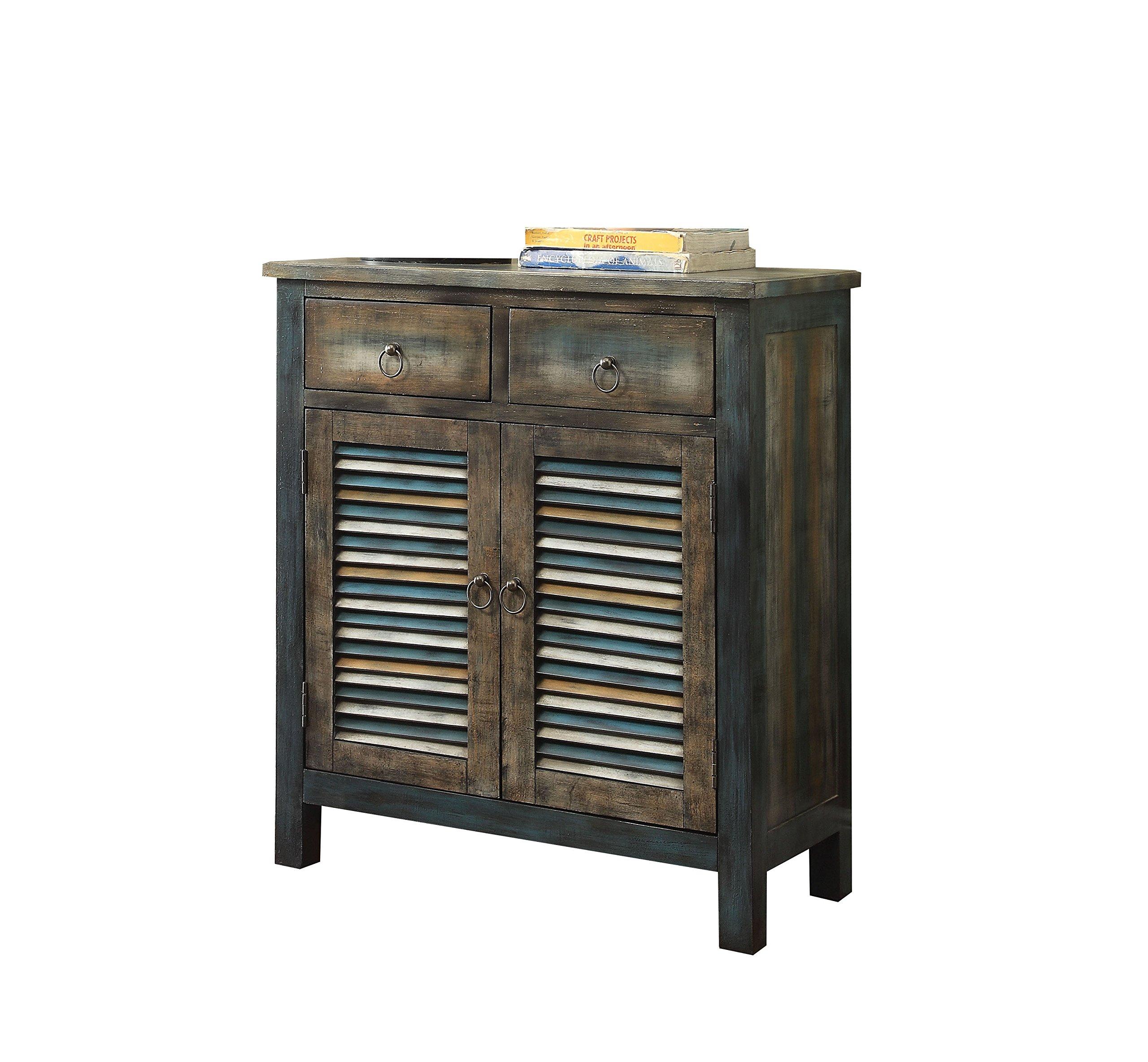 ACME Glancio Antique Oak and Teal Console Table