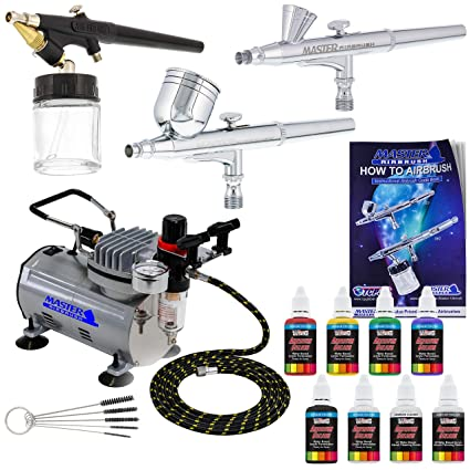 3 Airbrush Pro Master Airbrush Multi-Purpose Airbrushing System with Air  Compressor Kit and a US Art Supply 6 Primary Opaque Colors Acrylic Paint  Set