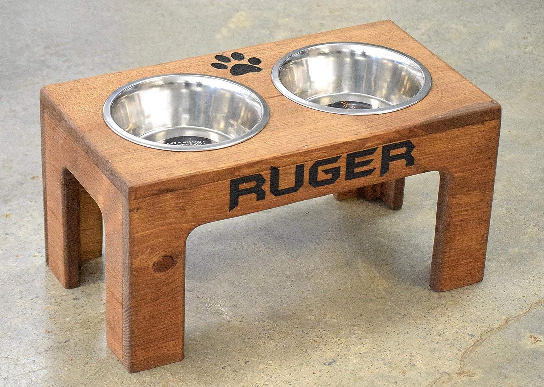 B076651LJH Elevated Dog Feeder and Storage Box - Elevated Dog Bowl - Rustic Dog Bowl Stand - Raised Dog Bowl - Raised Dog Feeder - Pet Bowl Stand 9152BYdtdkRL