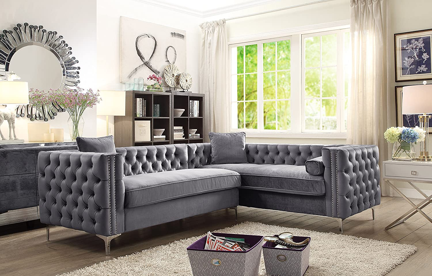 Amazon com iconic home fsa2591 an mozart elegant velvet modern deeply tufted with silver nailhead trim chrome legs right facing sectional sofa grey