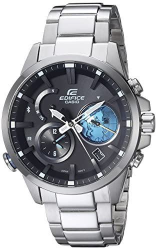 Casio Mens Edifice Connected Quartz Watch with Stainless-Steel Strap, Silver, 12 (Model: EQB-600D-1A2CF)