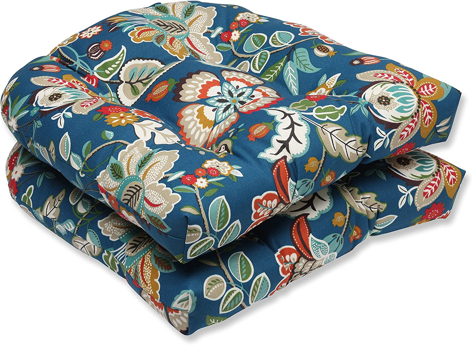 Pillow Perfect Outdoor Telfair Wicker Seat Cushion, Peacock, Set of 2
