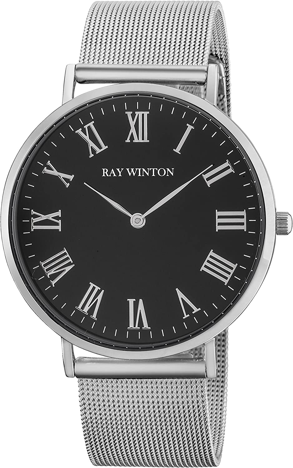 Ray Winton Men s Slim Analog Black Roman Numerals Dial Silver Stainless Steel Mesh Bracelet Watch