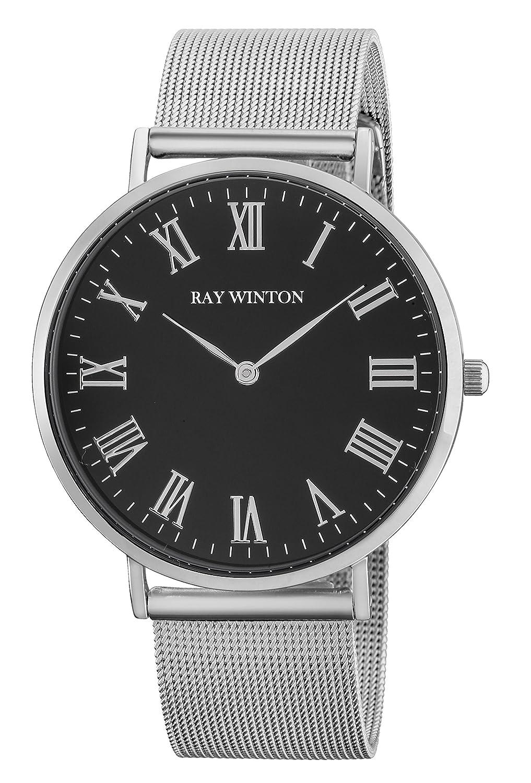 Ray Winton Herren Slim Analog schwarz rÖmischen Ziffern Zifferblatt Silber Edelstahl Mesh Armband Armbanduhr