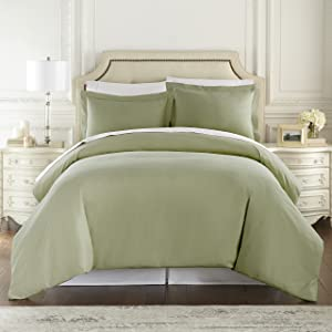 Hotel Luxury 3pc Duvet Cover Set-1500 Thread Count Egyptian Quality Ultra Silky Soft Premium Bedding Collection-King Size Sage