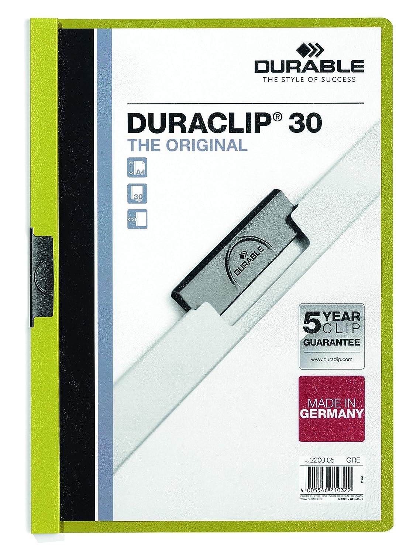 DURABLE 220005 - Duraclip 30, cartellina con clip per archiviare documenti, capacità 1-30 fogli, f.to A4, verde, confezione da 25 pezzi