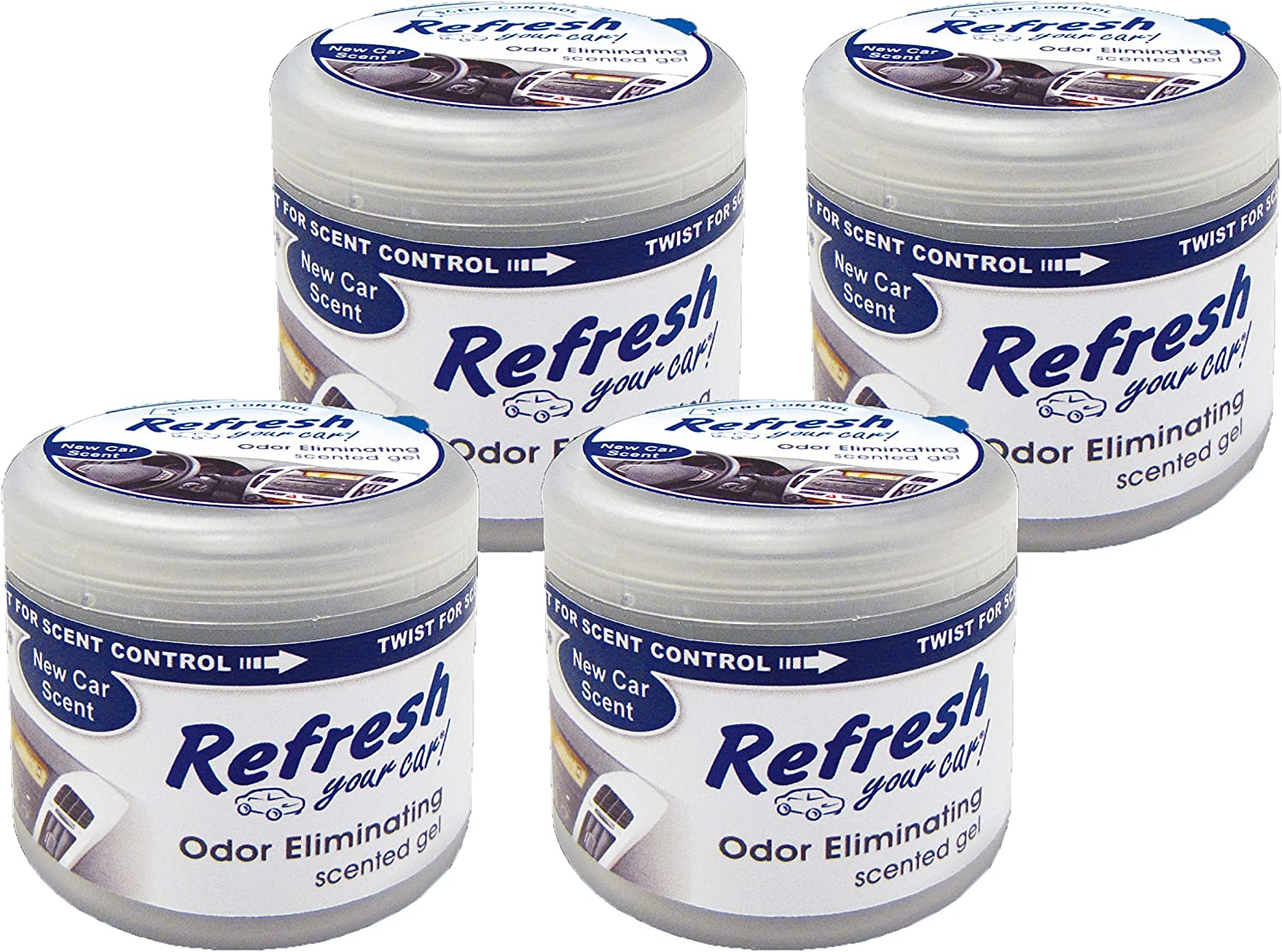 Refresh Your Car! 84941 New Car Scent Scented Gel Air Freshener, 4.5 oz, 4 Pack