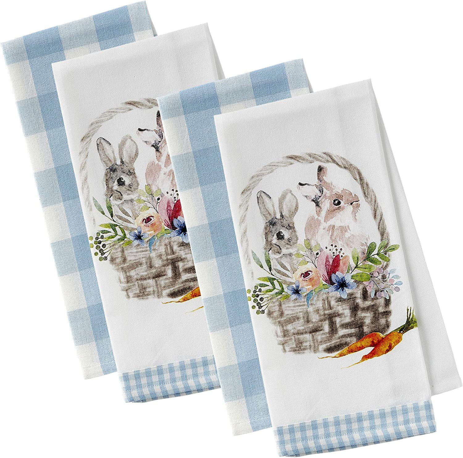 DII Easter Basics Collection Kitchen, Dishtowel Set, Garden Bunny 4 Piece