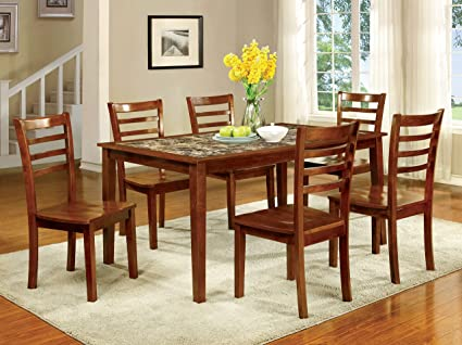 Ordinaire Furniture Of America Venice 7 Piece Faux Marble Top Dining Set, Antique Oak
