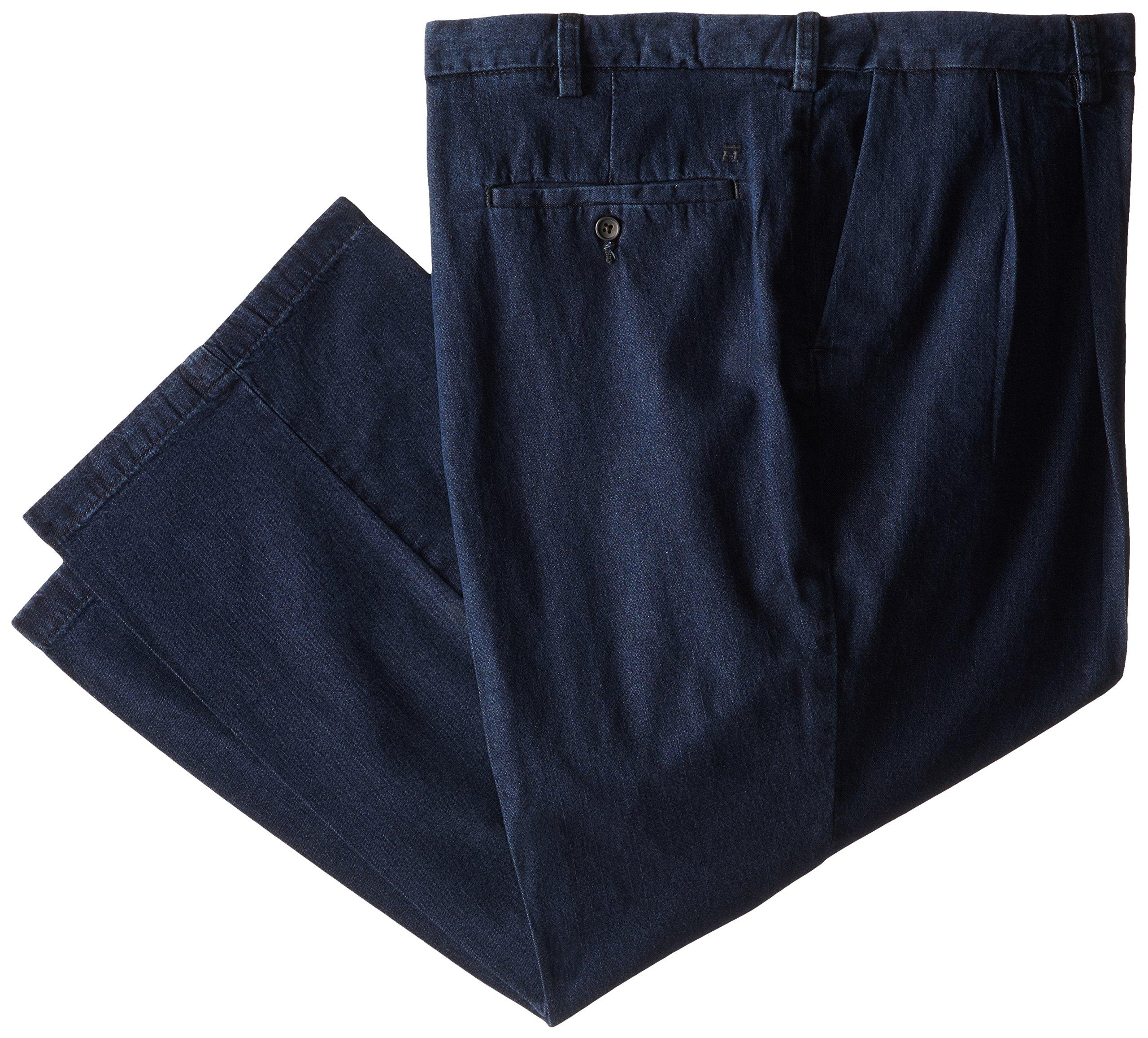 Haggar Men's Big-Tall Work To Weekend Expandable Waist Dark Denim Pant, Navy, 52x34
