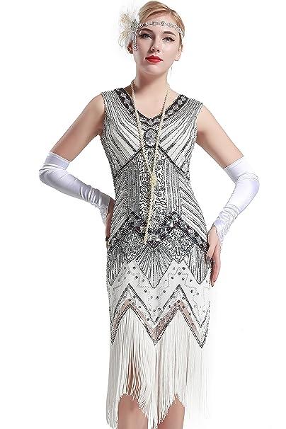 7cf812cfc91 BABEYOND Flapper Vestidos Mujer Estilo 1920 Vestido Vintage con cuello en V  con flecos de cuentas Vestido Gran Gatsby: Amazon.es: Ropa y accesorios