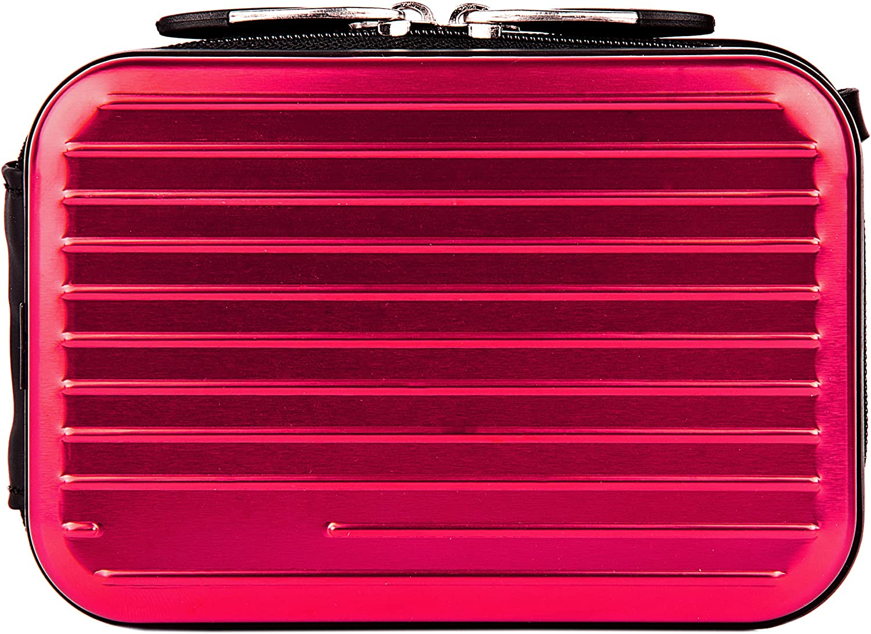Metallic Pascal Hardshell Aluminum Cube Case Pink for Panasonic Lumix DMC FH SZ TS ZS Digital Camara and Screen Protector and Mini Tripod