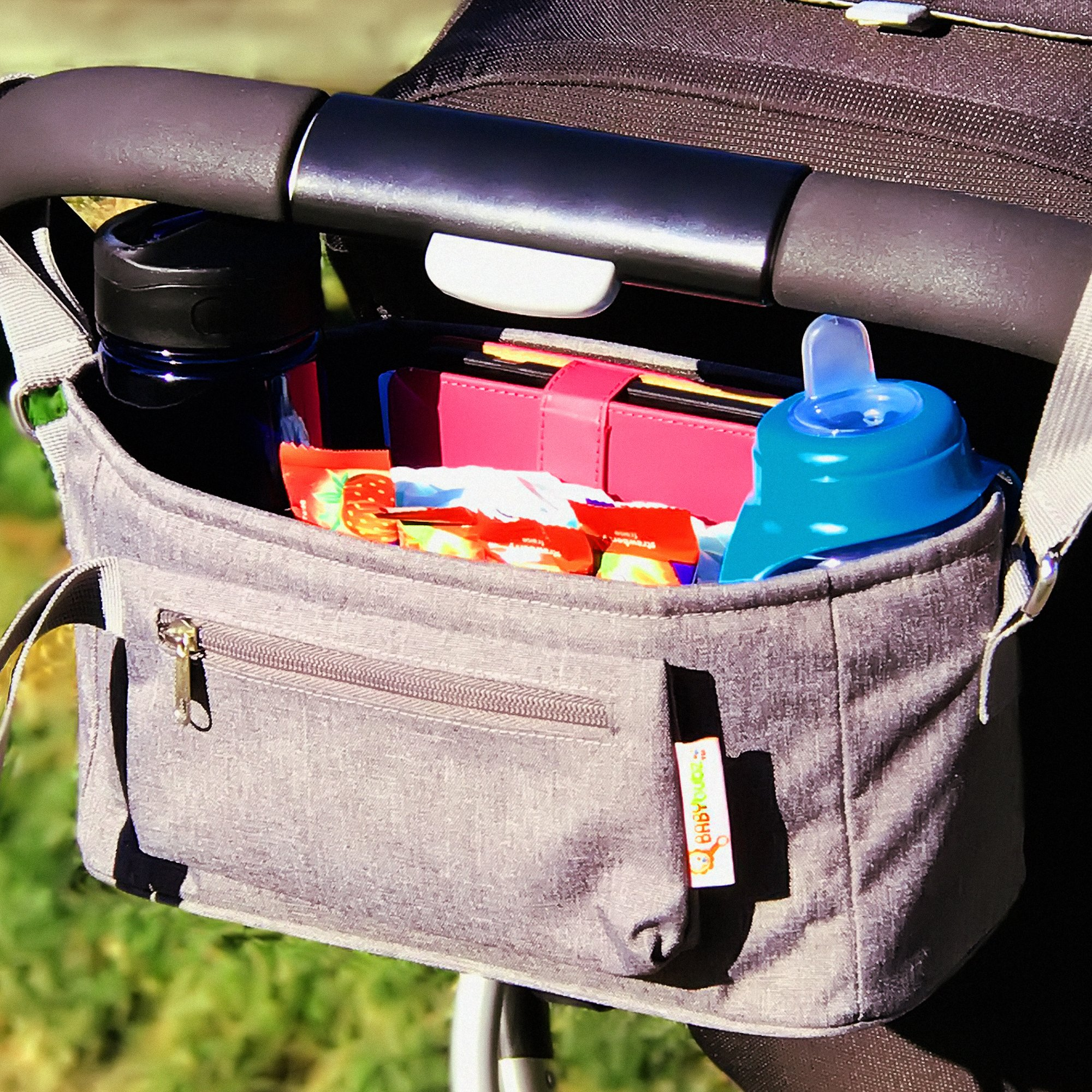 Baby Stroller Organizer by BabyBubz - Premium New Sleek Design - Durable Cup Holders - Universal Fit - tons of Storage for Phones, Keys, Diapers, Baby Toys, Snacks, Accessories - Best Shower Gift by BabyBubz (Image #4)