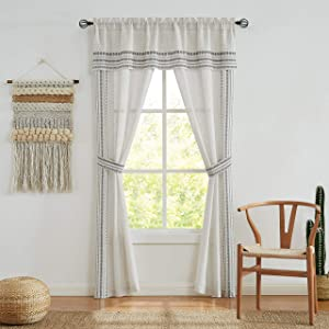"""Central Park 5 Piece Set Linen Curtain Panels with Black Embroidery Drapes Semi-Sheer Rod Pocket Drapery Window in a Bag for Bedroom Living Room with Attached Valance Matching 2 Tiebacks, 56""""x84""""x2"""