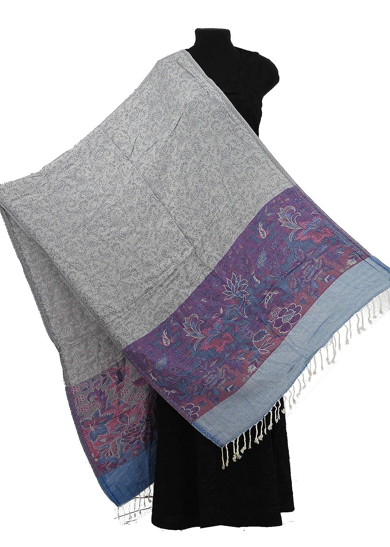 Grey//White Viscose Jamavar Shawl from India Reversible Jamawar Wrap Pashmina