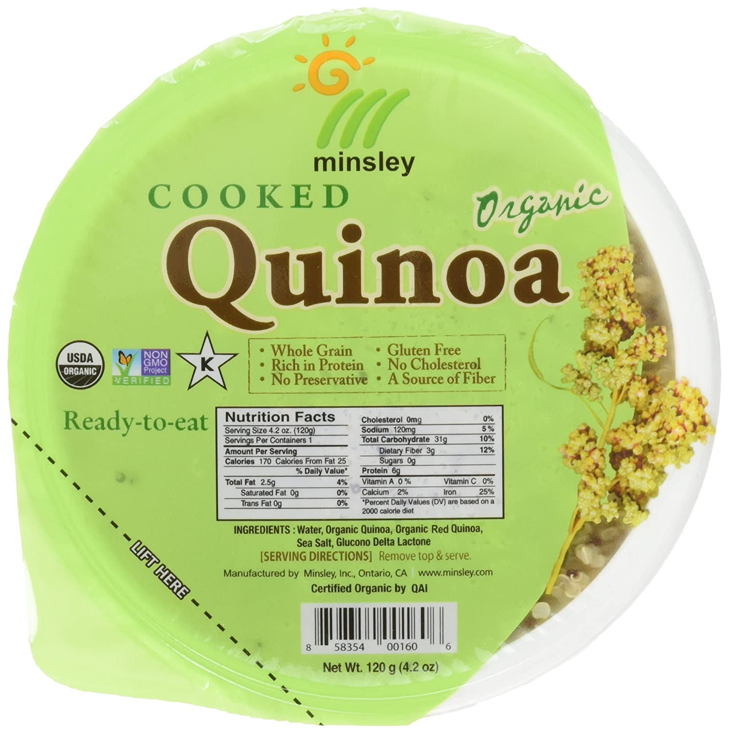 Minsley Cooked Organic Quinoa, 4.2 oz. (Pack of 12)