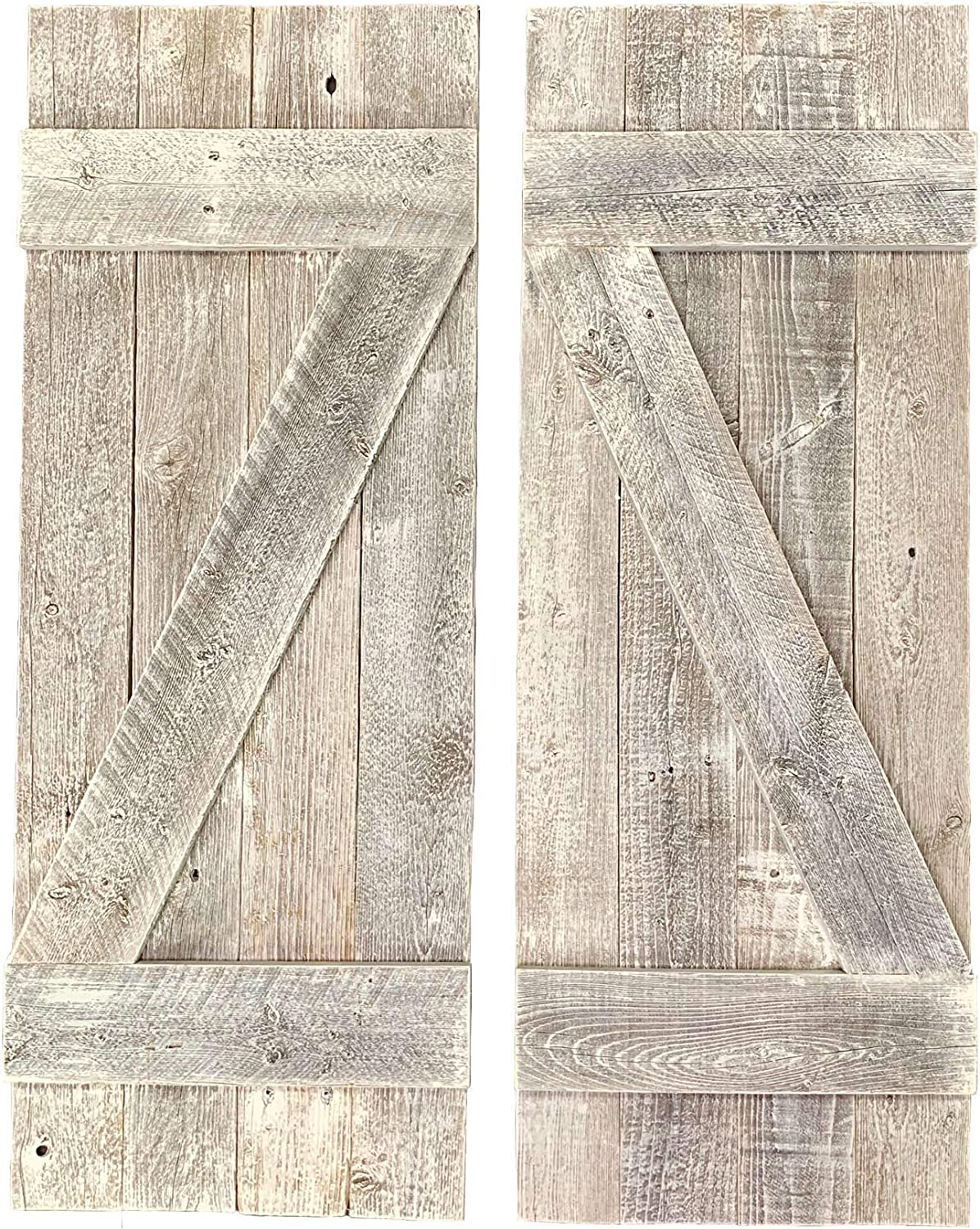 BarnwoodUSA | Rustic Farmhouse Window Shutters (Set of 2) | Made of 100% Reclaimed and Recycled Wood | Rustic Interior Window Shutters | Traditional Country Style Home Decor | White Wash | Made in USA