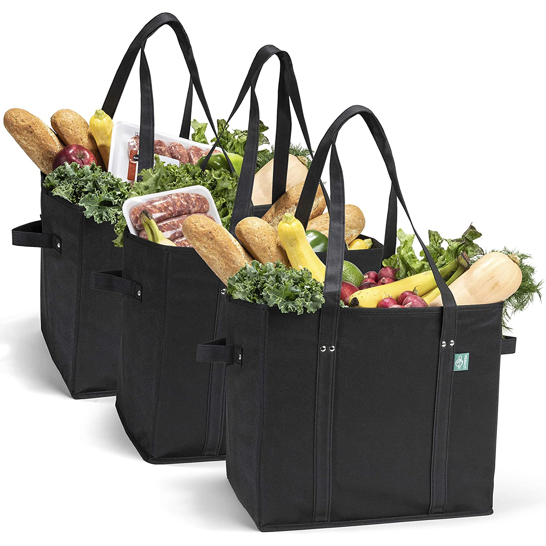 再利用可能な食料品ショッピングバッグ 折りたたみ可能 3個セット - 底とハンドルが補強された大型トートバッグ - エコフレンドリーな買い物バッグセット 食料雑貨、雑貨、旅行用 B07HLX7LSK