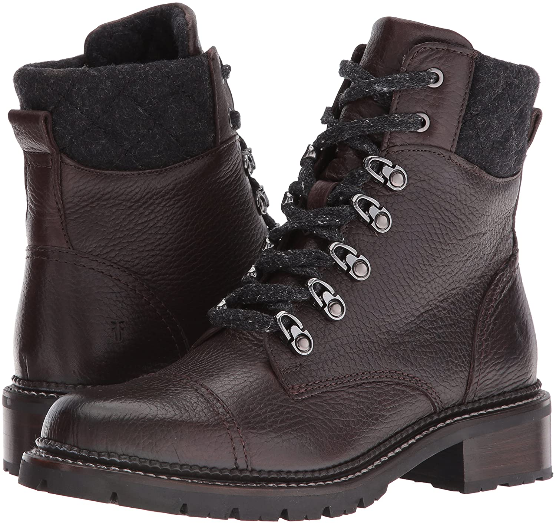 FRYE Women's Samantha Hiker Combat Boot B01BMRW8S6 8 B(M) US|Dark Brown