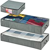 Under Bed Storage Bags - MAAN 3 Pack Underbed Storage Organizer for shoes, clothes, comforters and blanket with Strong Reinfo