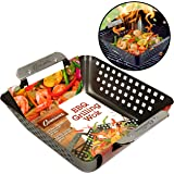 Camerons Products Grill Basket- Non-Stick BBQ Barbecue Grilling Wok with Stainless Steel Handles for Meat, Vegetables, and Seafood