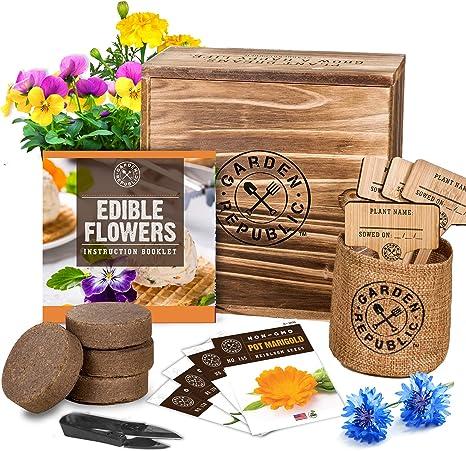 GARDEN REPUBLIC Edible Flowers Indoor Garden Seed Starter Kit