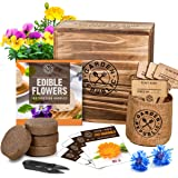 Edible Flowers Indoor Garden Seed Starter Kit - Non-GMO Heirloom Seeds for Planting, Soil, Burlap Pots, Plant Markers, Trimme