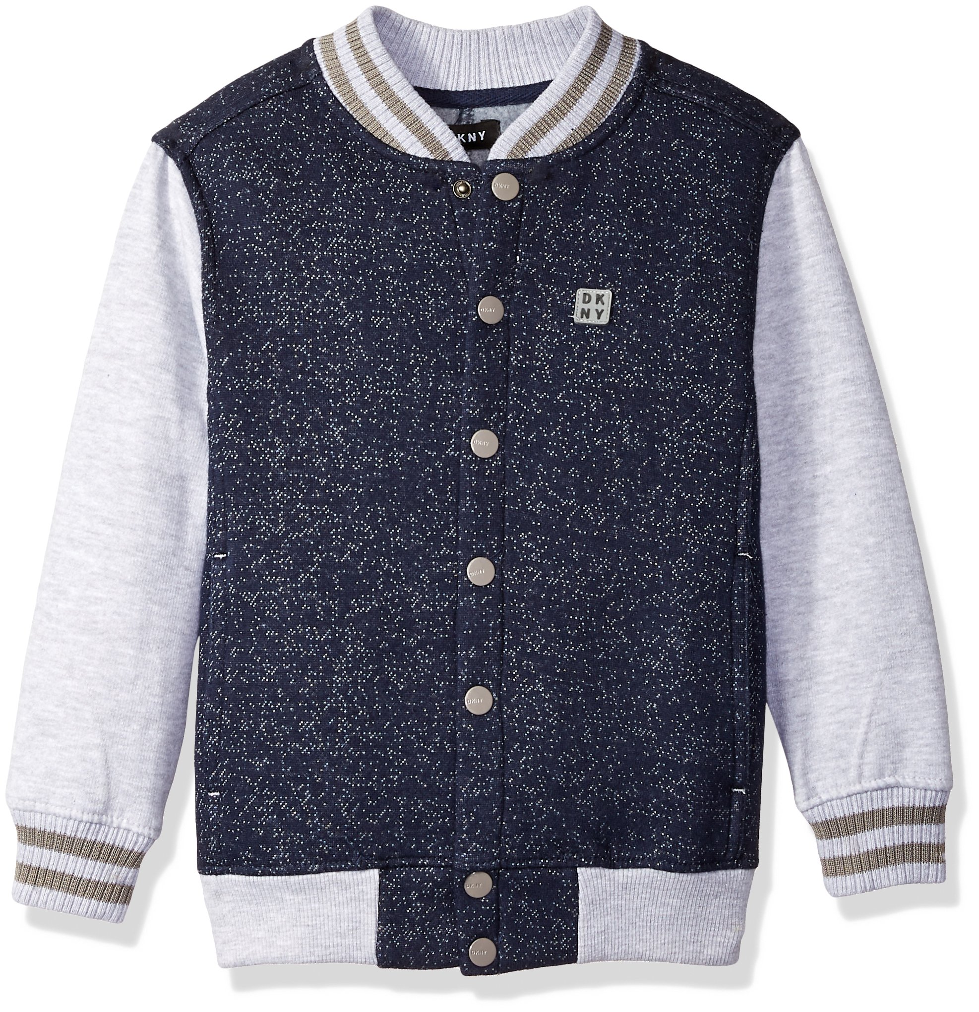 DKNY Little Boys' Snap Front Color Block Grindle Fleece Varsity Style Jacket, Peacoat Grindle, 7