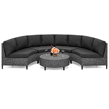 Circle Coffee Table With Seats.Best Choice Products 5 Piece Modern Outdoor Patio Semi Circle Wicker Sectional Sofa Set W 4 Seats Coffee Table Gray