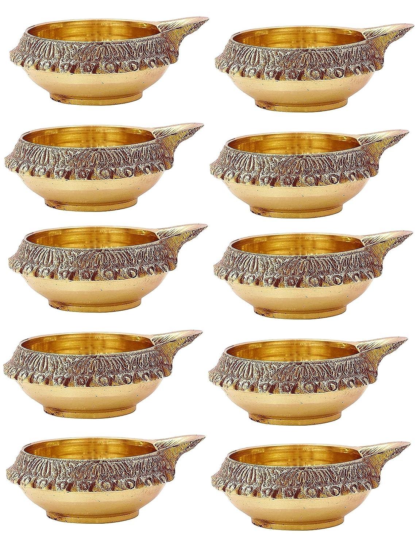 8 Pc Set of Beautiful Golden Metal Base Indian DIWALI DIYA Tea light candle Holder. Diwali Gift Designer Diya to charm your decorations. Oil Lamp Diwali Decoration / Christmas Decoration Crafts'man DIYA006
