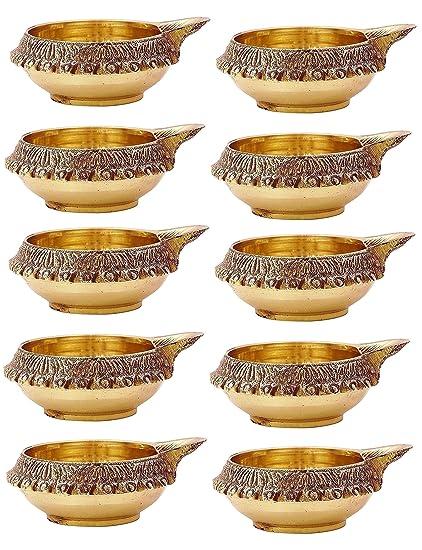 Amazon Com 100 Pure Virgin Brass Diwali Diya Set Of 10 Indian