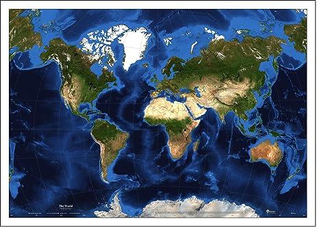 Amazoncom World Satellite Map Van Der Grinten Topography - World satellite earth map