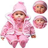 "The Magic Toy Shop 20"" Lifelike Large Size Soft Bodied Baby Doll Girls Boys Toy With Dummy & Sounds (Baby Pink Coat)"