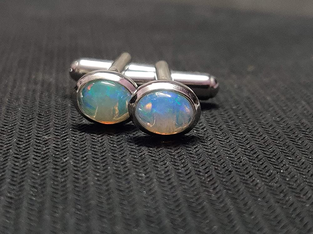 Silver Toned Etched Oval Oil Drill Cufflinks