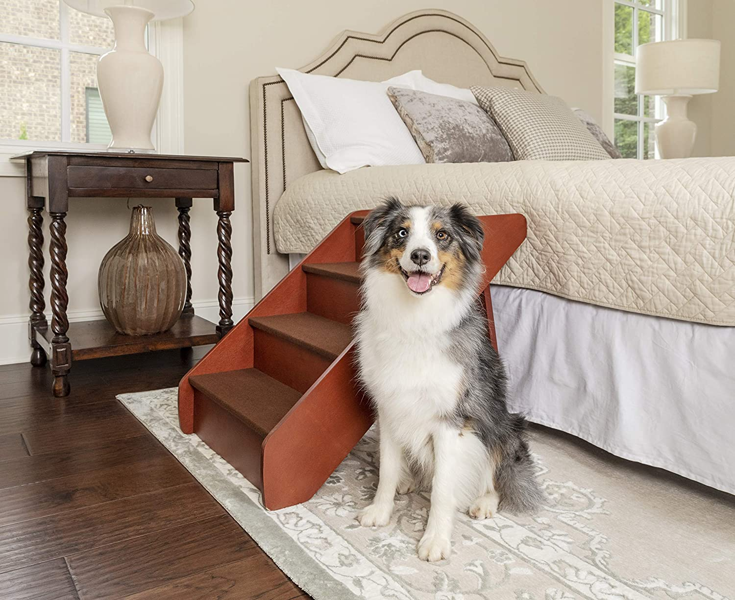 PetSafe Solvit PupSTEP Wood Pet Stairs for Dogs and Cats, Foldable - X-Large : Dog Stairs For High Beds : Pet Supplies