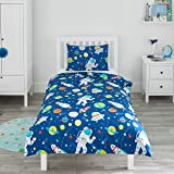 Bloomsbury Mill - Outer Space, Rocket & Planet - Kids Bedding Set - Blue - Junior/Toddler / Cot Bed Duvet Cover & Pillowcase