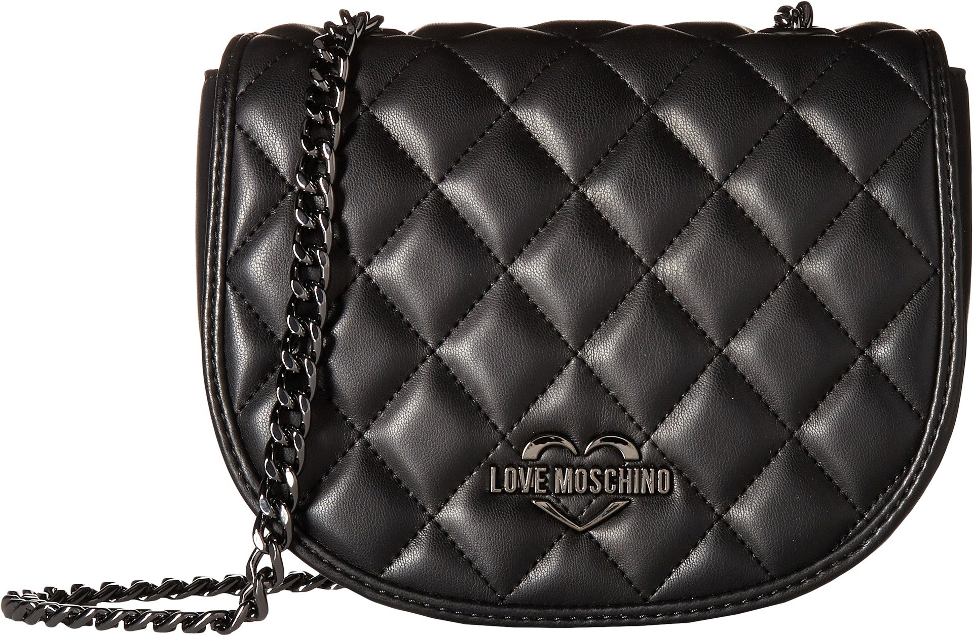LOVE Moschino Women's Metallic Quilted Crossbody Black One Size