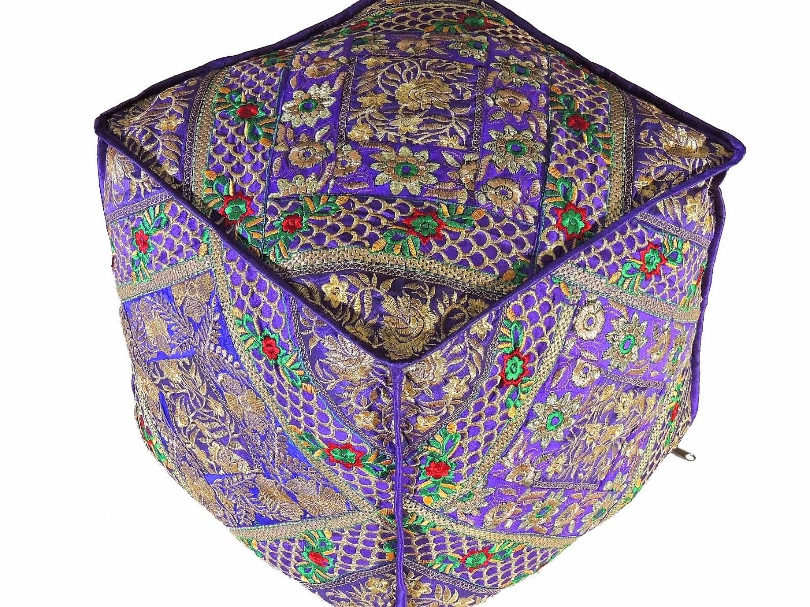 NovaHaat Purple Gold Decorative Embroidery Pouf Cover - Large Trendy Living Room Ottoman with Fine Parsi, Kashmiri and Zari Hand Embroidery from India - 18in L x 18in W x 18in H