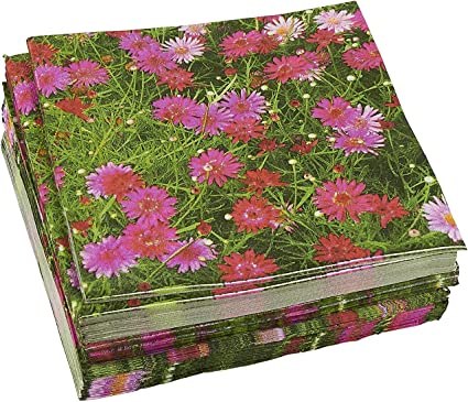 100-Pack Decorative Napkins - Pink Daisy Floral Print Disposable Paper Party Napkins - Soft and Absorbent Cocktail Napkins for Luncheon, Dinner and Celebration, Pink, 13 x 13 Inches