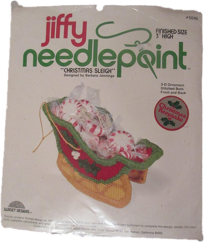 Jiffy Needlepoint Christmas Sleigh 3D Ornament Kit #5040